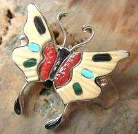 Vintage ZUNI Indian Sterling Silver Multi Gem Inlay Butterfly Pendant