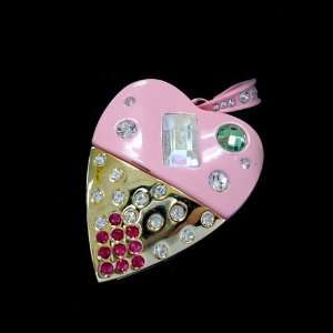 8GB USB Flash Drive Pink and Golden Diamond Heart Design