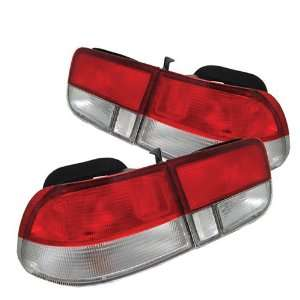 Honda Civic 96 97 98 99 00 2DR Tail Lights   Red Clear