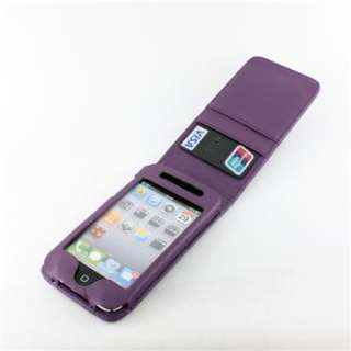 PURPLE LEATHER FLIP CASE COVER WALLET FOR IPOD TOUCH 4TH GEN 4G