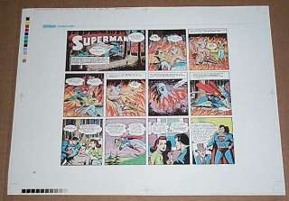 JOE SHUSTER GOLDEN AGE SUPERMAN SUNDAY COMIC STRIP COLOR PROOF ART 1