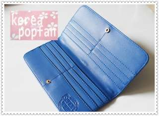 SJ SUPER JUNIOR KPOP CANDY COLOR PATENT LEATHER BLUE WALLET CARD CASE