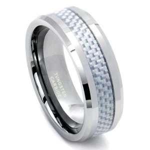 Tungsten Carbide Carbon Fiber Wedding Band Ring Sz 10.0