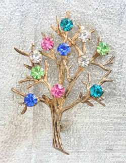Art Moderne 60s Rhinestone Sterling Tree Brooch