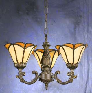 Tiffany 3 Glass Antique Bronze Color Chandelier #23000