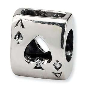 925 Sterling Silver Ace Spades Playing Card Charm Bead Jewelry