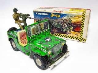 RARE 1960 ASAKUSA Army War Tank COMBAT Jeep Truck Car Battery OP Tin
