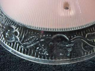 VTG ART DECO CEILING LIGHT GLASS SHADE PINK TULIPS