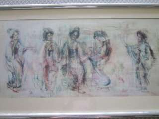 LARGE EDNA HIBEL Matted & Framed Print JAPANESE GEISHA GIRLS