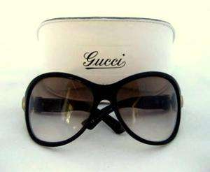 GUCCI; Brown ROUNDED PLASTIC FRAME GOLD BUCKLE SUNGLASSES W/CASE