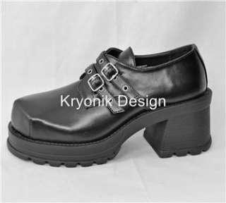 Demonia Trump 101 goth gothic punk black platform buckled shoes heels