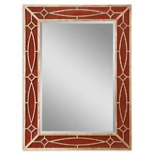 Gold Leaf Frame w/ Red Reversed Painted Glass Panels
