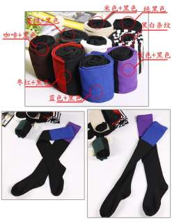 Pair New Women 7 Color WOMENS 2 TONE OVER KNEE HIGH LEGGING SOCKS