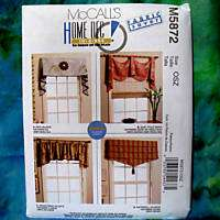McCalls 5872 Home Decor Window Treatments Pattern New