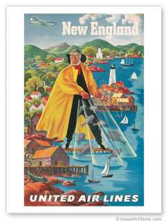 Vintage Travel Poster UNITED AIRLINES New England FEHER