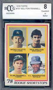 1978 topps #707 MOLITOR / TRAMMELL rc rookie BGS BCCG 8