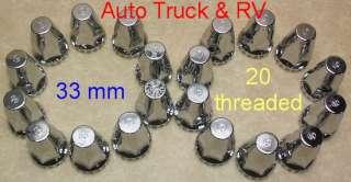 Treaded ABS Lug Nut Covers 33 mm flanged Semi Truck Wheel Dress up OEM