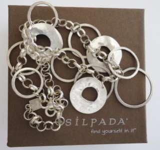 SILPADA Sterling Silver HAMMERED RINGS CIRCLES Necklace   #N1325