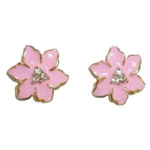 Bright Pink Enamel Flower Pierced Earrings Jewelry