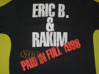 1988 ERIC B. & RAKIM ORIGINAL PAID IN FULL TOUR VINTAGE T SHIRT RAP