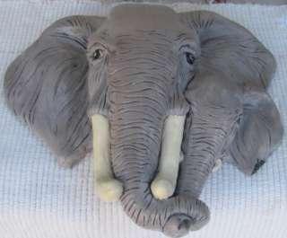 EX LG CERAMIC MOM & BABY AFRICAN ELEPHANT WALL PLAQUE
