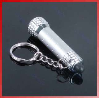 LED Mini Flashlight Torch Key Chain Key Ring White
