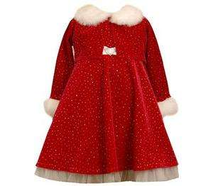 Bonnie Jeans Girls Red Velvet Santa Christmas Holiday Dress & Jacket