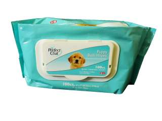 100 Ct Dog Puppy Bath Wipes Baby Powder Scent Gently Cleans