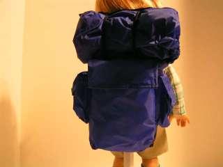 Royal Blue Hiking Backpack with Sleeping Bag fits 18 American Girl