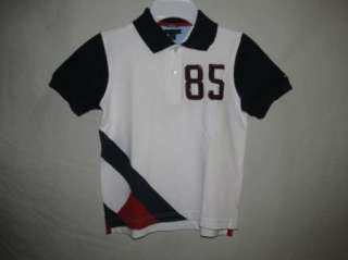 NWT Tommy Hilfiger White & Navy Large H 85 Pique Polo Shirt Boys 3T