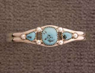 Navajo Grace Yazzie Sterling Silver Turquoise Bracelet Native American