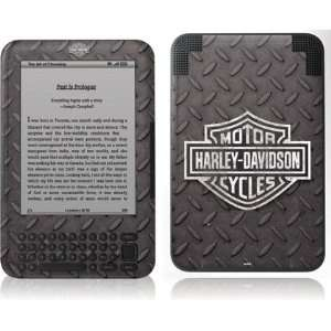 Skinit Black and White Harley Davidson Logo on Diamond Plate Vinyl
