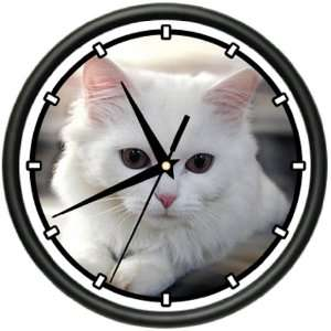 WHITE CAT Wall Clock cats kittens owner breeder gift: Home