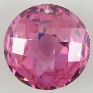 20mm faceted CZ cubic zirconia coin disc pendant pink
