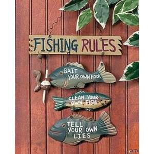 Fathers Day Gifts Wood Fishing Rules Sign