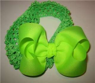 Neon Lime Green Boutique Hair Bow Baby Newborn Headband