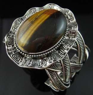 Big Large Natural Tiger Eye Stone Open Ended Cuff Bracelet Bangle 7B