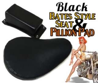 Rigid Bobber Black Vinyl Solo Seat Kit Pillion Pad & 3 Springs