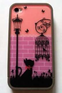Night Light Romantic Cat Girl Gift Hard Cover Case For Apple Iphone 4