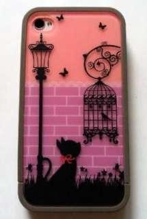 Night Light Romantic Cat Girl Gift Hard Cover Case For Apple Iphone 4
