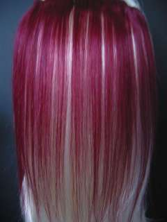 12 PINK PURPLE BLUE RED GREEN BURGUNDY HAIR EXTENSIONS