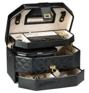 New Diamond Quilted Black Leather & Crystal Jewelry Box