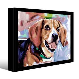 BEAGLE dog pet portrait original painting CANVAS Fine Art GICLEE PRINT