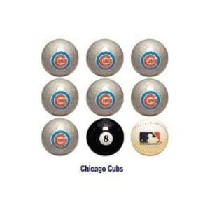Chicago Cubs MLB Licensed Billiards Ball Set of 9 (7 Team, 1 Cue,1