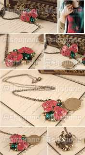 Beautiful Blooming Red Rose Flower Rhinestones Pendant Long Necklace