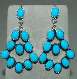 Beauty Turquoise Sterling Dangle Earrings Signed Jennifer Begay