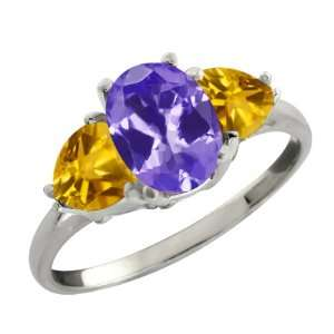 1.98 Ct Oval Blue Tanzanite and Yellow Citrine Sterling