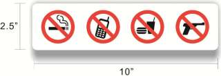No Smoking Cell Phone Food Guns Decal Sticker Sign~WS06