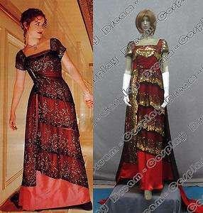 Titanic  Rose Dinner Red Dress Costume Victorian REPLICA