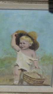 BEAUTIFUL PLEIN AIR PAINTING OF LITTLE GIRL WITH PICNIC BASKET